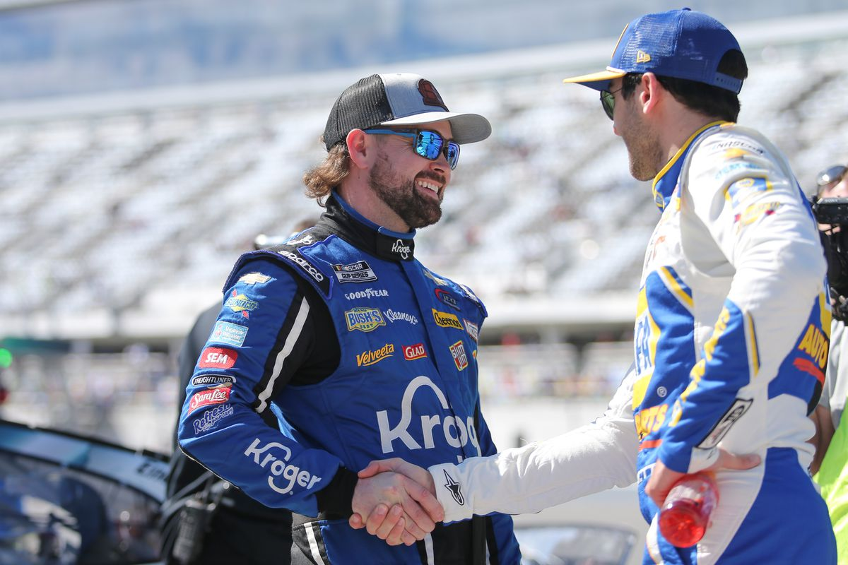 Ricky Stenhouse Jr., driver of the JTG Daugherty Racing Kroger Chevrolet Camaro, is congratulated by Chase Elliott after winning the pole during qualifying for the Daytona 500 on February 9, 2020 at Daytona International Speedway in Daytona Beach, Fl.