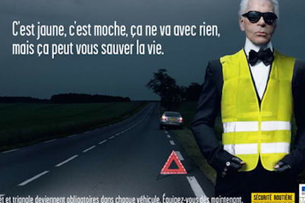 Karl Lagerfeld posed for a PSA on safety vests in 2008.