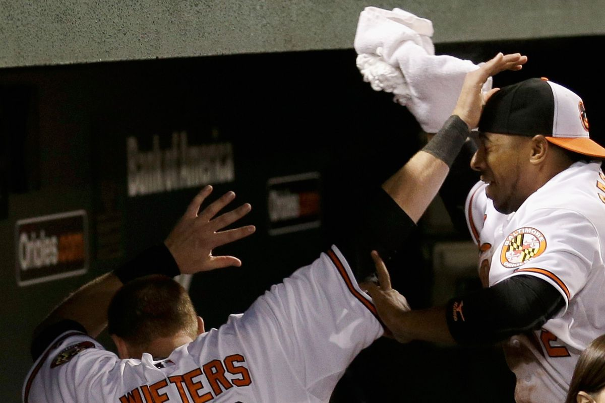 Matt Wieters is too fast for Alexi Casilla and Adam Jones to pie him. Yes, I just used Matt Wieters and fast in the same sentence.