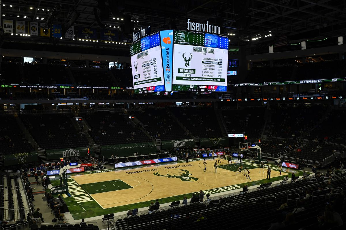 A general view of the score board after Giannis Antetokounmpo #34 of the Milwaukee Bucks scored 12,012 career points in the third quarter against the Philadelphia 76ers to become the second most points scored in Milwaukee Bucks' franchise history at Fiserv Forum on April 24, 2021 in Milwaukee, Wisconsin.