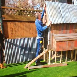 A chicken coop was built in the back yard at the house, which was featured on the show.   HGTV