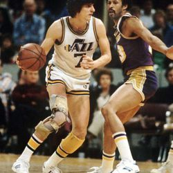 Pete Maravich of the New Orleans Jazz plays in 1979 in his last year in New Orleans before moving to Utah for the 1979-80 season. Maravich played at the end of his career with the knee brace.