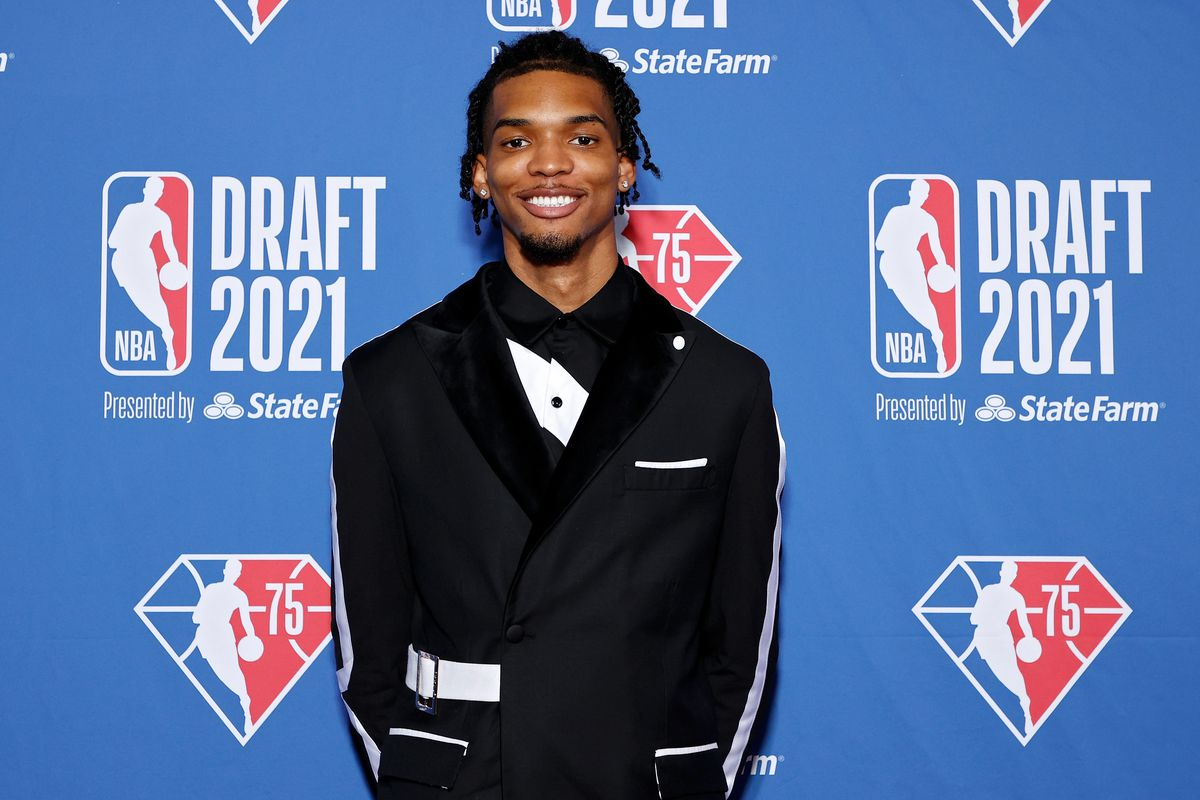 Ziaire Williams poses for photos on the red carpet during the 2021 NBA Draft at the Barclays Center on July 29, 2021 in New York City.