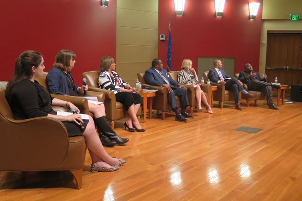 Panelists discuss school integration in Indianapolis at an event co-sponsored by Chalkbeat.