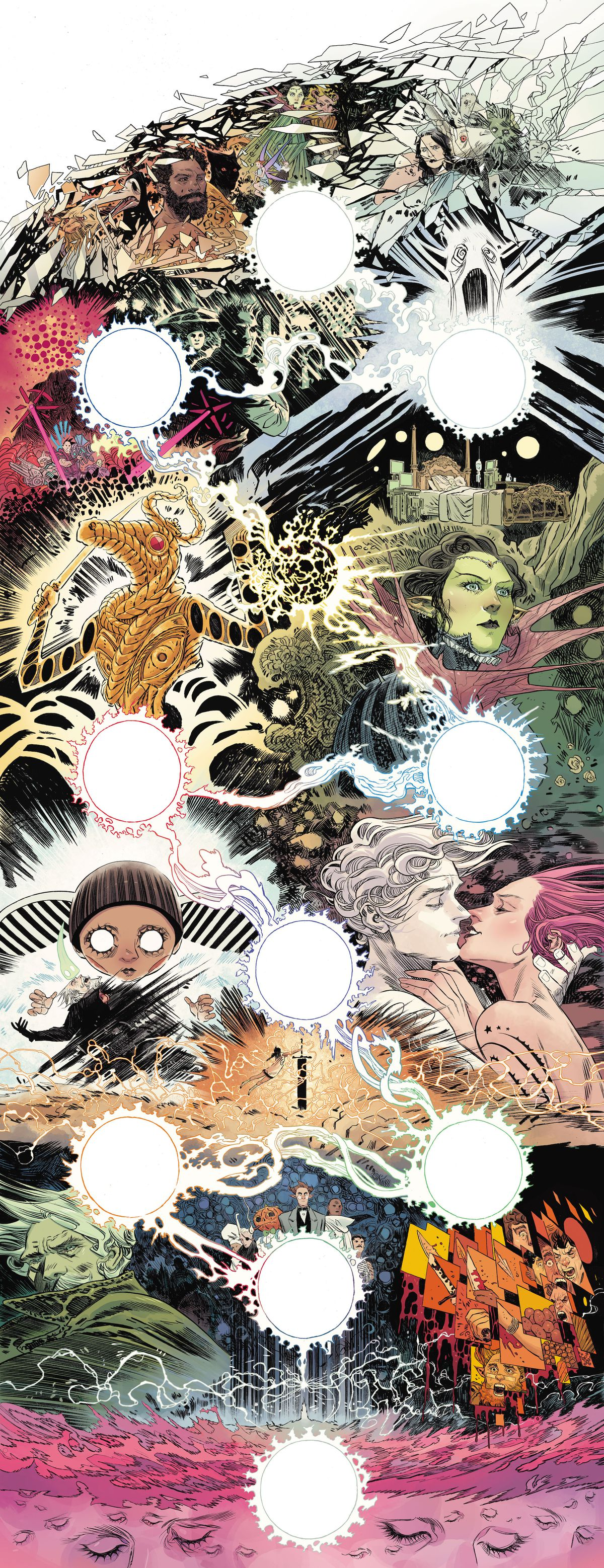 The unlettered double vertical gatefold pages of The Dreaming #20, DC Comics (2020).