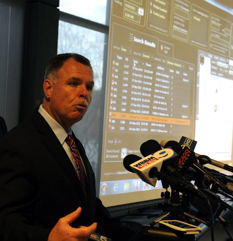 Then-Supt. Garry McCarthy announcing the installation of ShotSpotter gunshot-detection technology in Englewood in October 2012.   Sun-Times