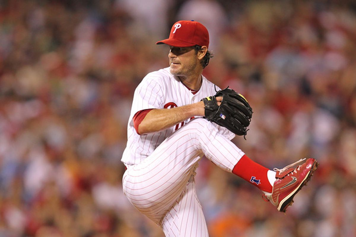 PHILADELPHIA - MAY 2: Starting pitcher Jamie Moyer #50 of the Philadelphia Phillies delivers a pitch during a game against the New York Mets at Citizens Bank Park on May 2, 2010 in Philadelphia, Pennsylvania. (Photo by Hunter Martin/Getty Images)