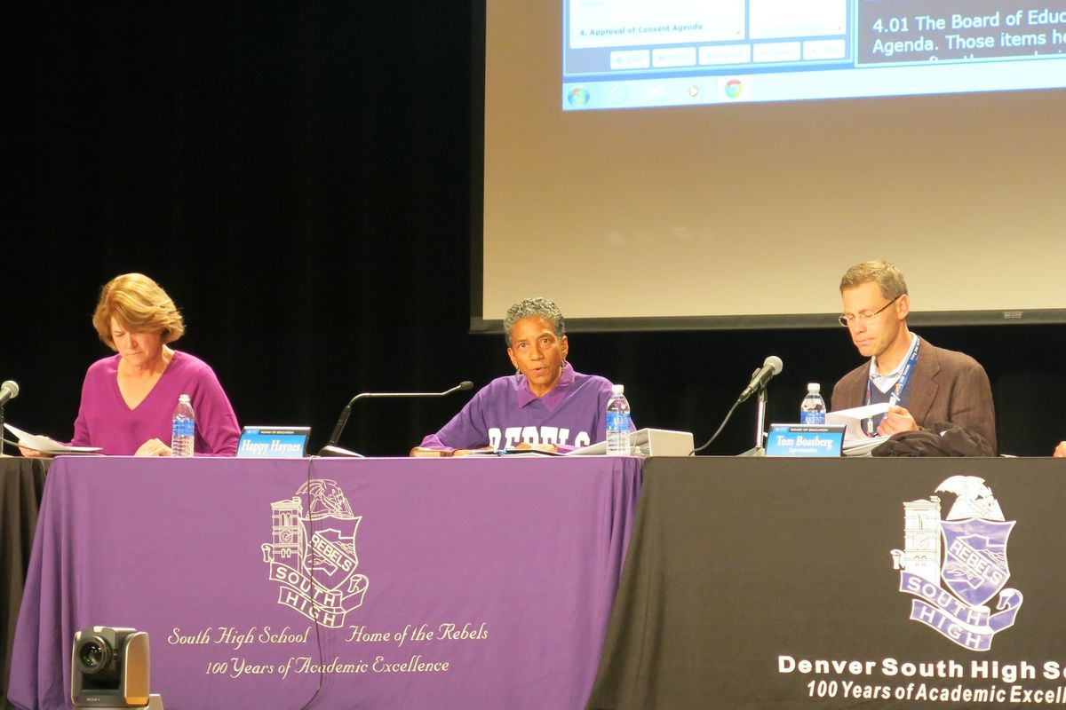 The Denver Public Schools board at a meeting in December 2014 at South High School.