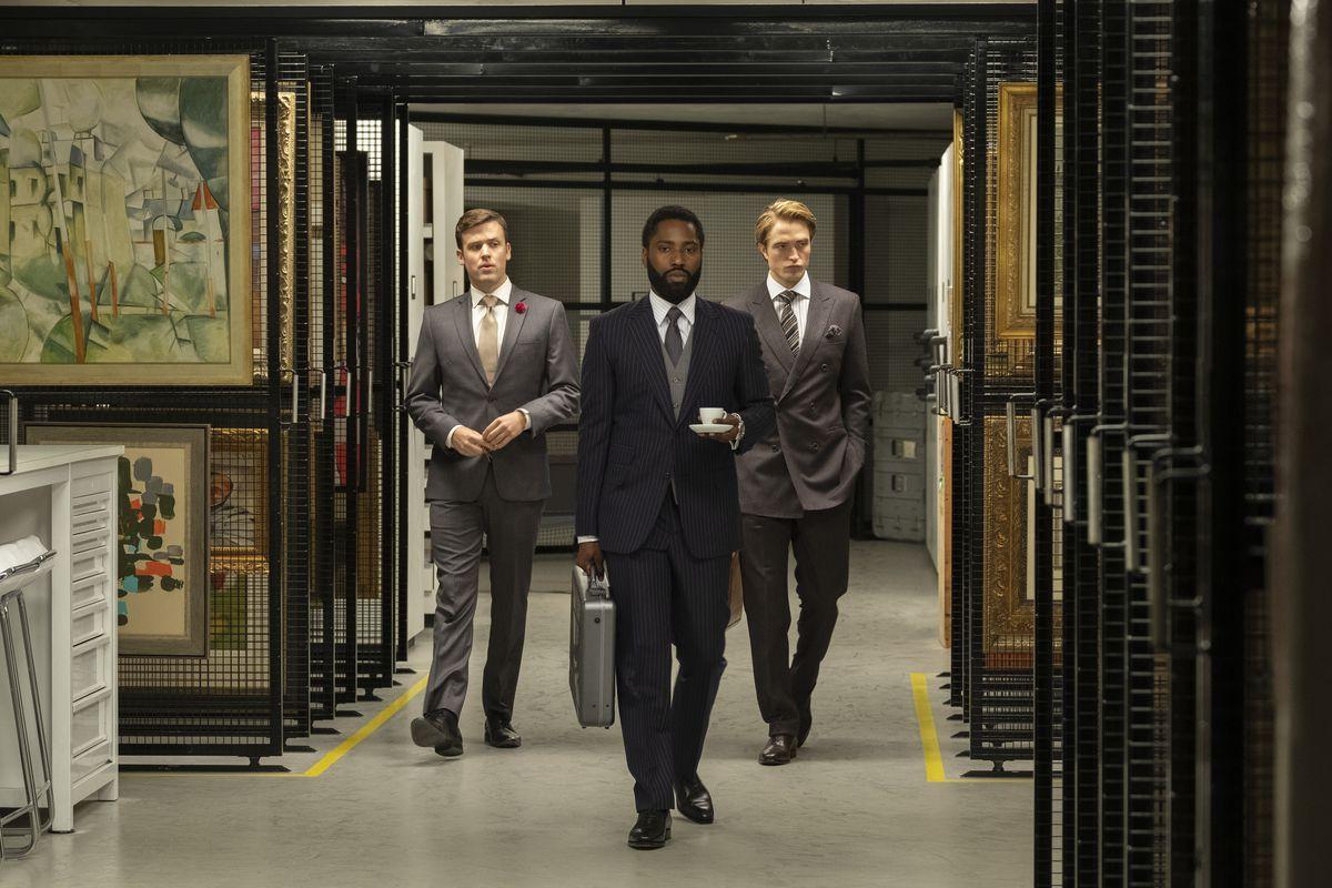 JACK CUTMORE-SCOTT, JOHN DAVID WASHINGTON and ROBERT PATTINSON in Warner Bros. Pictures' action epic TENET