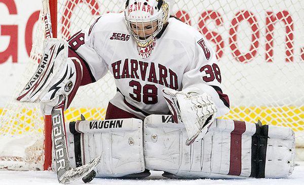 Emerance Maschmeyer making a save for Harvard University