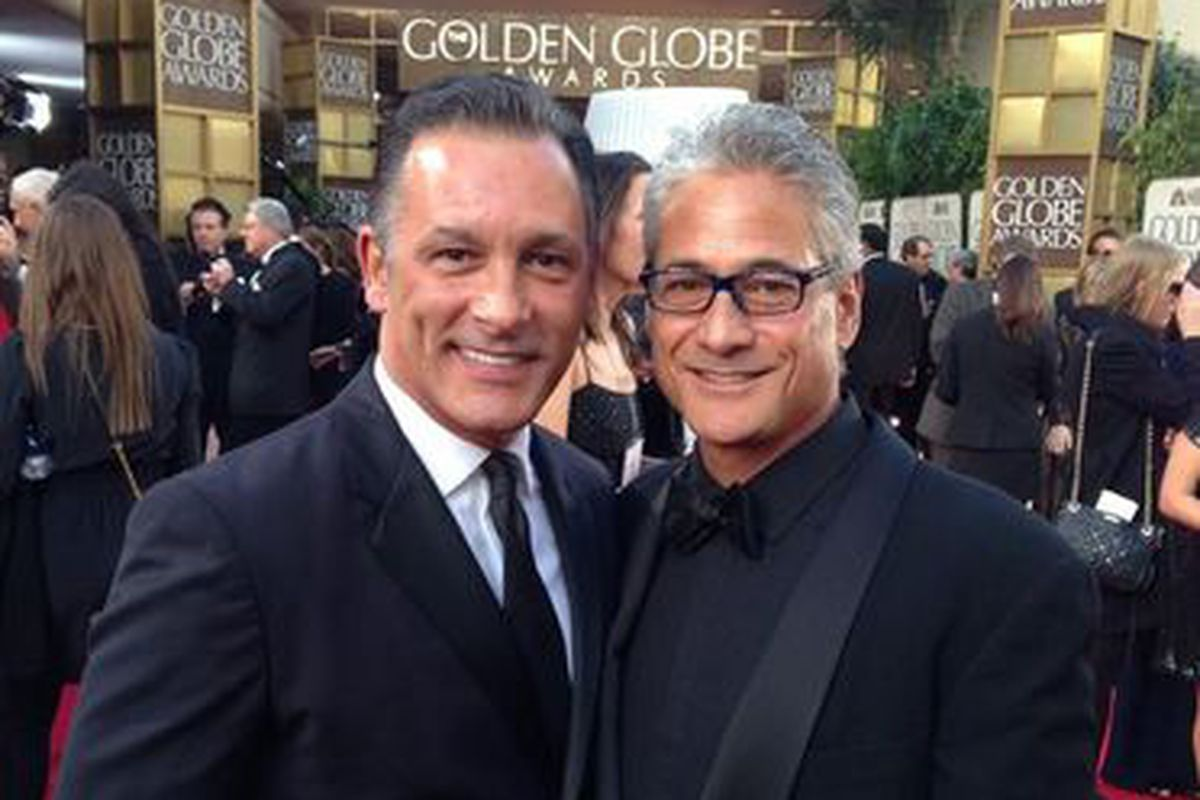 Greg Louganis, right, and Johnny Chaillot