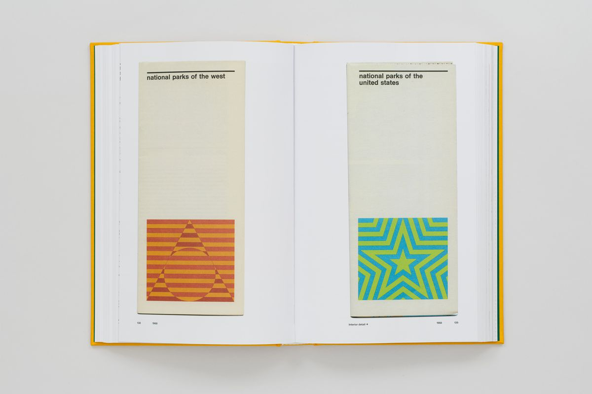 Book spread showing national park pamphlets.