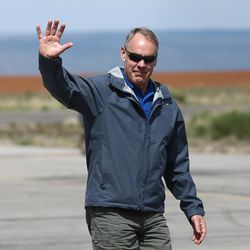 Interior Secretary Ryan Zinke arrives in Blanding before taking a flight around the Bears Ears National Monument with state leaders on Monday, May 8, 2017.