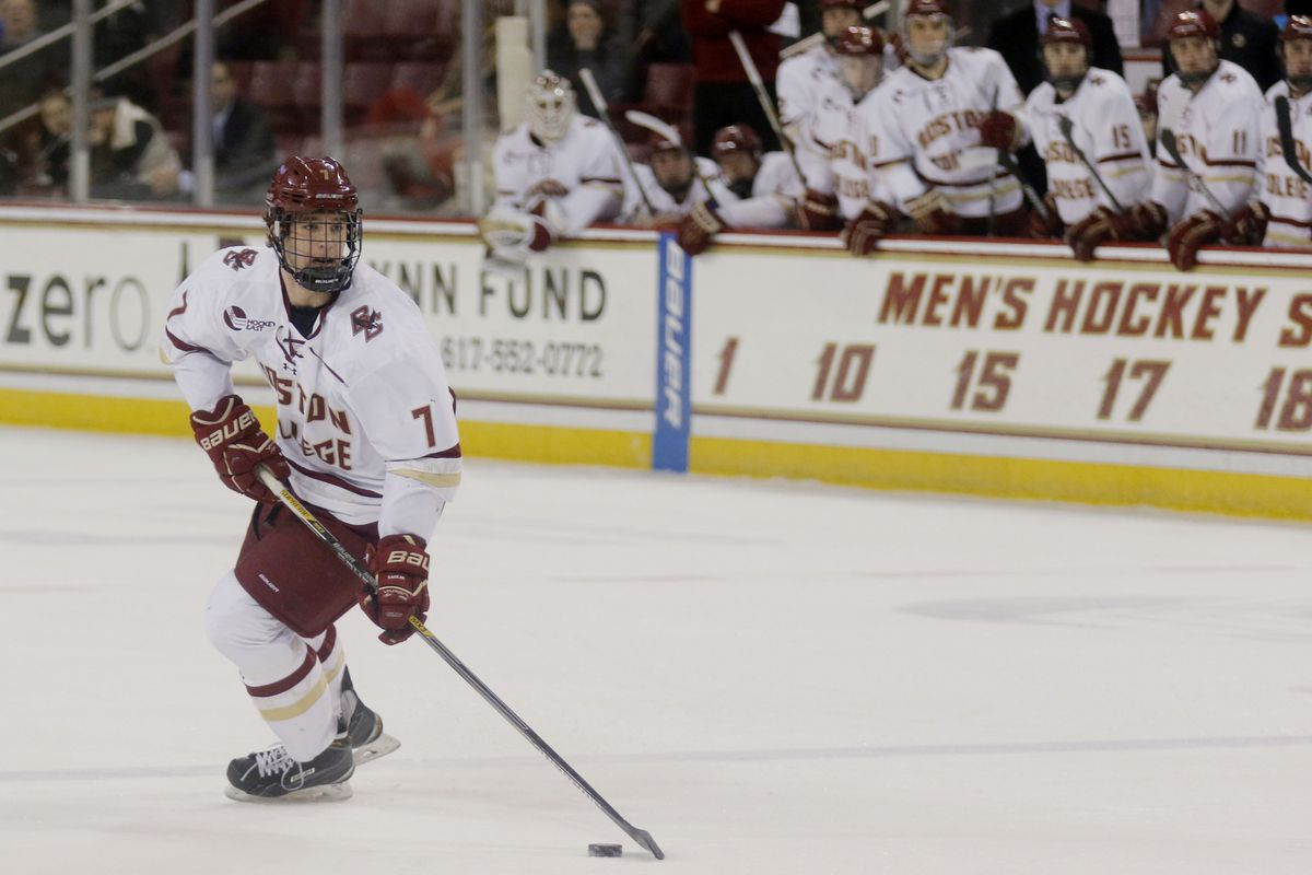 Boston College's Noah Hanifin controls the puck at the blue line against UMass Lowell Friday during their game at Conte Forum.