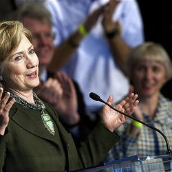 Sen. Hillary Clinton, D-N.Y., campaigns for Democratic presidential candidate Sen. Barack Obama, D-Ill., as she speaks at a fundraiser for the Utah Democratic Party at the Utah Cultural Celebration Center on Saturday.