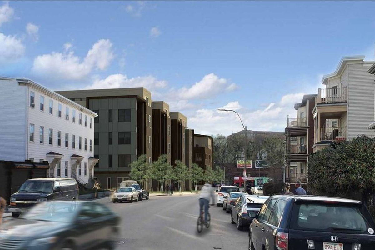 Rendering of the multi-building Dot Block in Dorchester