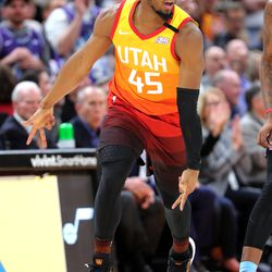 Utah Jazz guard Donovan Mitchell (45) celebrates after a 3-point shot as the Utah Jazz and the Miami Heat play in an NBA basketball game at Vivint Smart Home Arena in Salt Lake City on Wednesday, Feb. 12, 2020. Utah won 116-101.