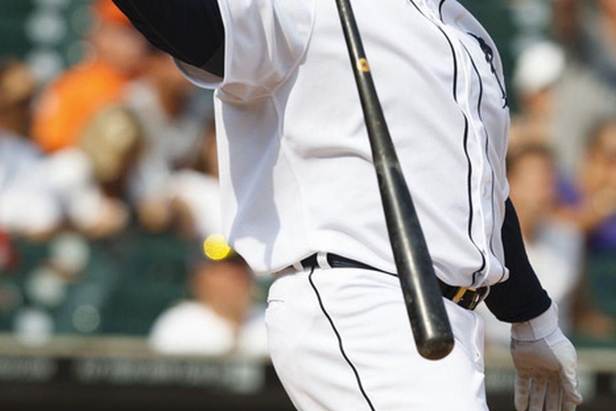 July 5, 2012; Detroit, MI, USA; Detroit Tigers first baseman Prince Fielder (28) hits a three run home run during the eighth inning against the Minnesota Twins at Comerica Park. Mandatory Credit: Rick Osentoski-US PRESSWIRE