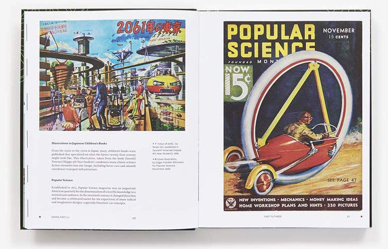 A spread from the Cars book showing a fanciful space-age city and a futuristic-looking car on an old Popular Science cover.