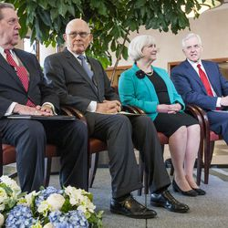 Elder Jeffrey R. Holland, Elder Dallin H. Oaks, Sister Neill F. Marriott and Elder D. Todd Christofferson, leaders in The Church of Jesus Christ of Latter-day Saints, attend a news conference re-emphasizing support Tuesday, Jan. 27, 2015, for LGBT nondiscrimination laws that protect religious freedoms, at a press conference inside the Conference Center in Salt Lake City.
