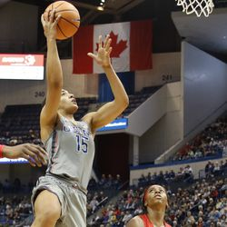 UConn�s Gabby Williams (15) goes in strong for a layup.
