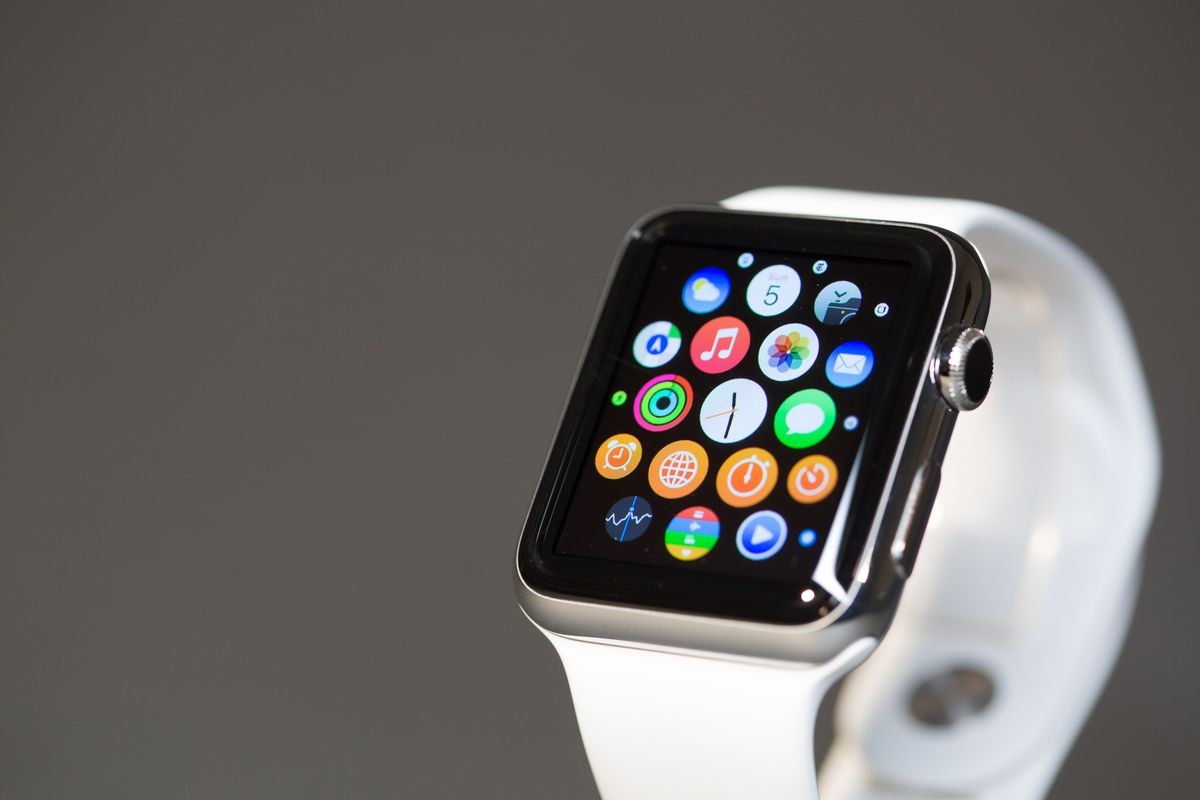 Pressing on the Digital Crown brings you to this constellation of tiny app icons on the watch.