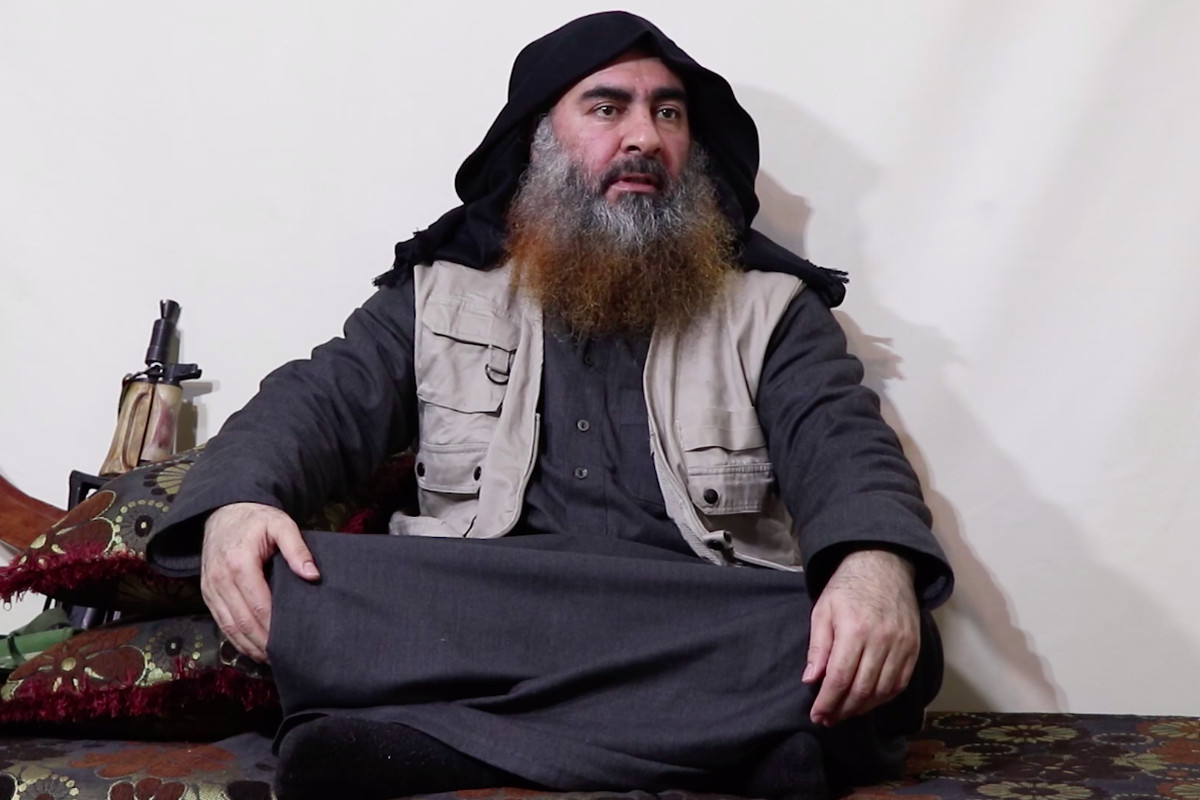 ISIS leader Abu Bakr al-Baghdadi addresses followers in this screenshot taken from a video released by ISIS's al-Furqan Media on April 29, 2019.