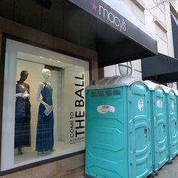 Slightly less glamorous: all the Porta-Potties scattered downtown in preparation for the crowds during Monday's ceremony.