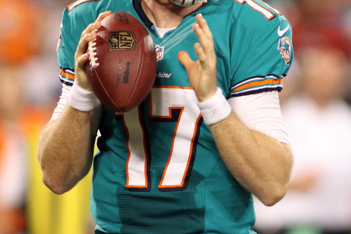 Aug 17, 2012; Charlotte, NC, USA; Miami Dolphins quarterback Ryan Tannehill (17) looks to pass the ball during the first half against the Carolina Panthers at Bank of America Stadium. Mandatory Credit: Jeremy Brevard-US PRESSWIRE