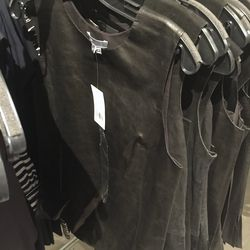 Black leather top, $129 (was $495)