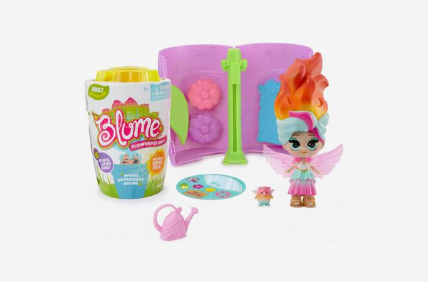 A product shot of a Blume flower pot doll with flame-like hair