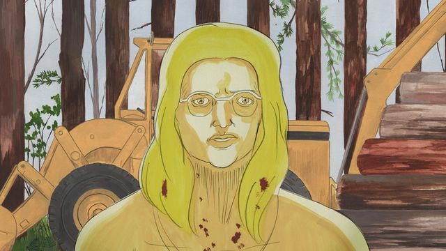 A naked woman in the woods, spattered in blood, in Cryptozoo