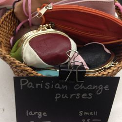Leather coin purses, $25