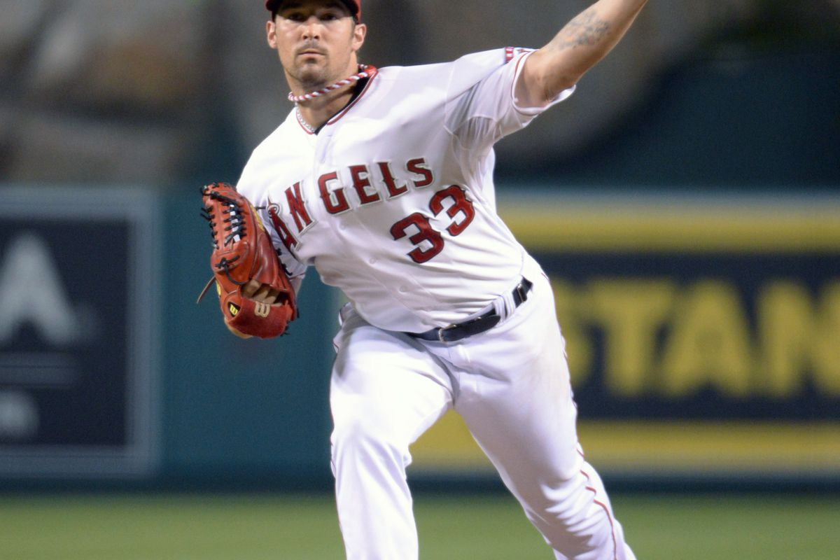 Aug 29, 2012; Anaheim, CA, USA; Los Angeles Angels starter C.J. Wilson (33) delivers a pitch against the Boston Red Sox at Angel Stadium. Mandatory Credit: Kirby Lee/Image of Sport-US PRESSWIRE