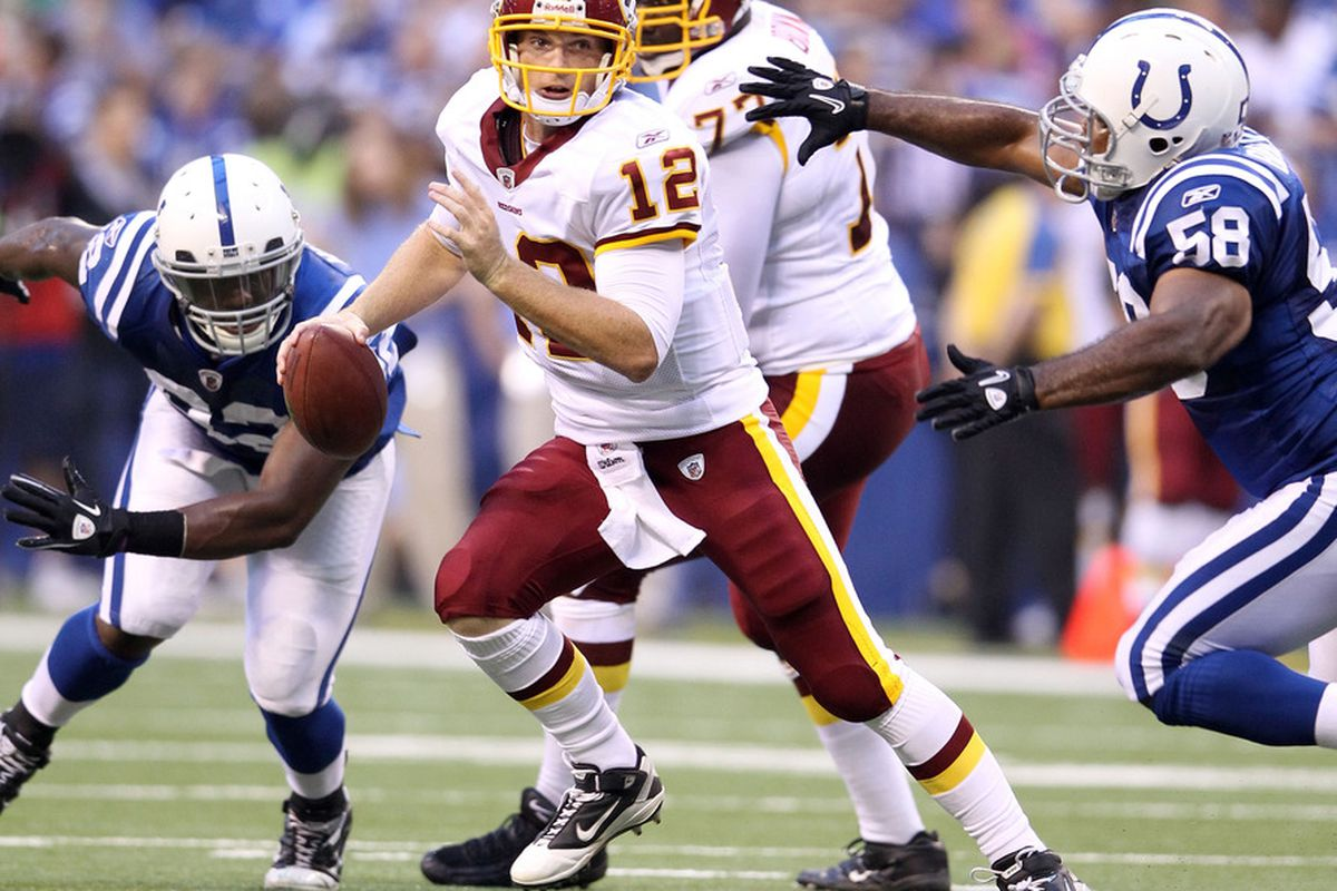 INDIANAPOLIS, IN - AUGUST 19:  John Beck #3 of the Washington Redskins runs with the ball during the game against Indianapolis Colts at Lucas Oil Stadium on August 19, 2011 in Indianapolis, Indiana.  (Photo by Andy Lyons/Getty Images)