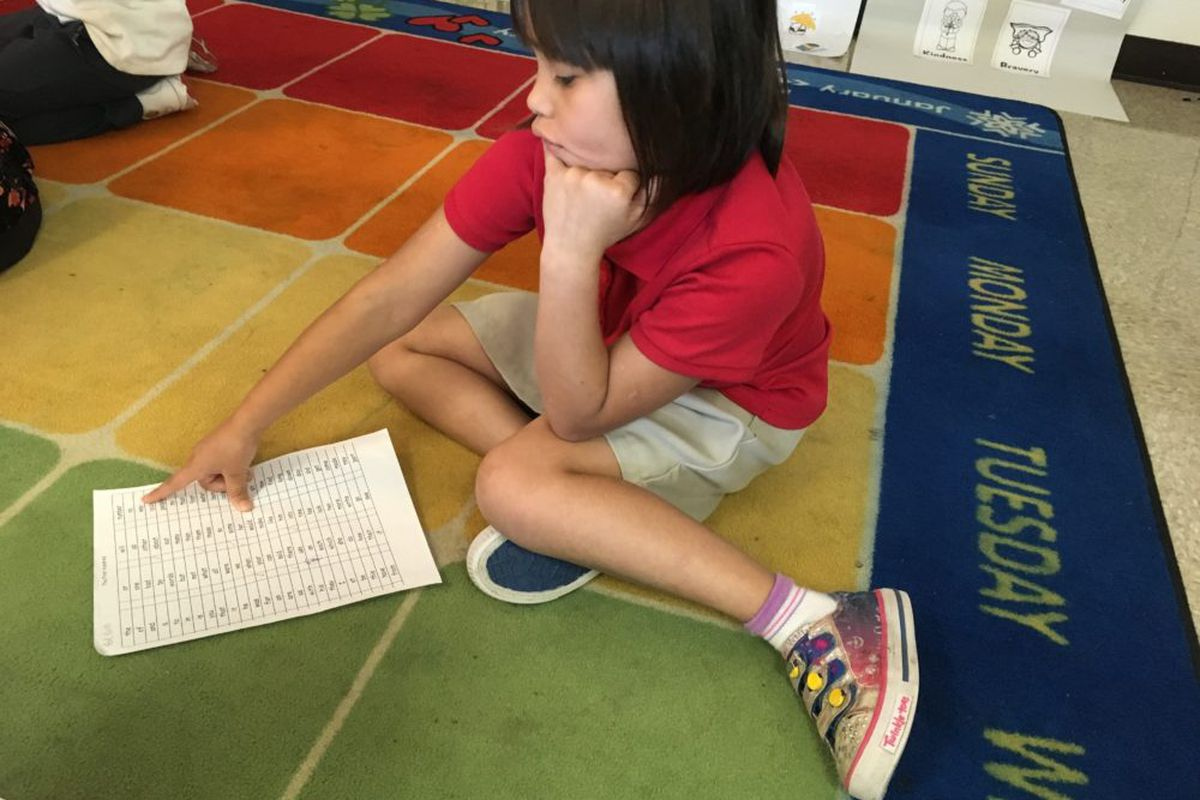 A student works on reading words at Lew Wallace School 107 in Indianapolis Public Schools.