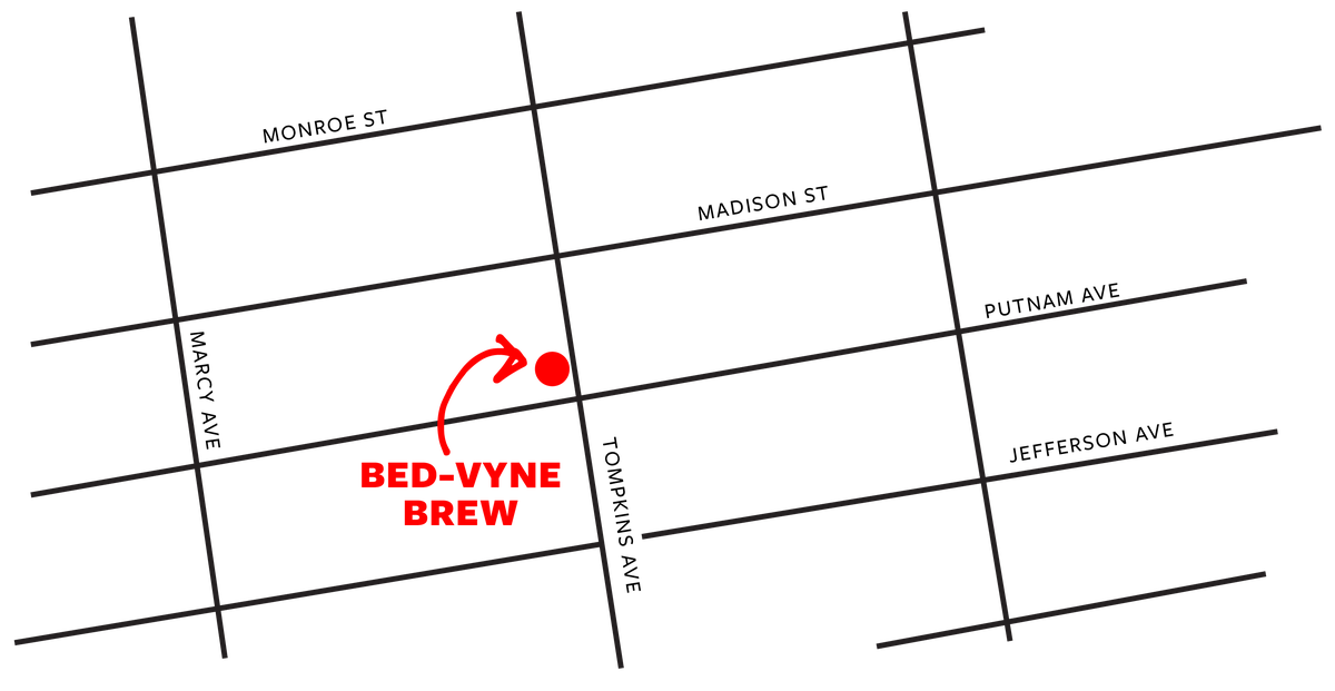 A map of Bed-Vyne Brew, located at 70 Tompkins Ave, Brooklyn, New York