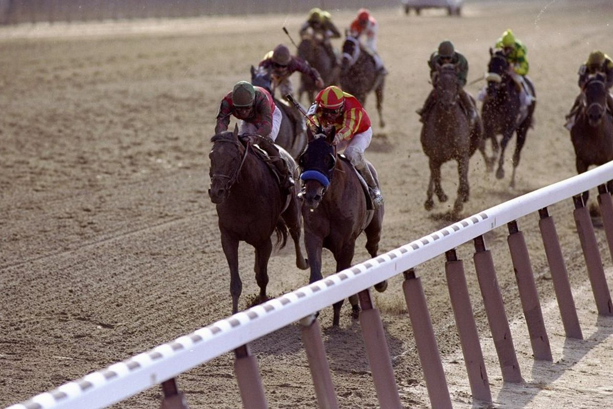 6 Jun 1998: Victory Gallop (L) pulls ahead of Real Quiet to win during the Belmont Stakes at the Belmont Park in Elmont, New York. Mandatory Credit: Andy Lyons /Allsport
