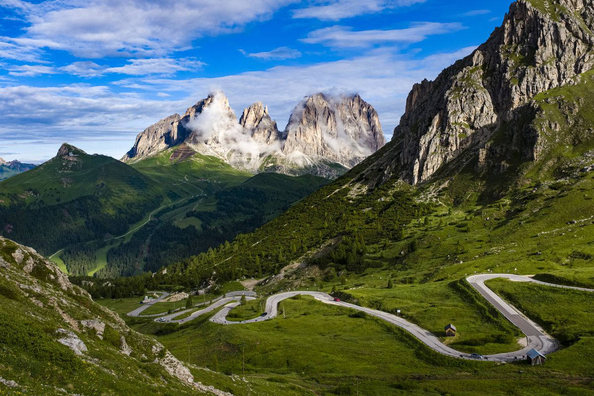 View toward the summits of Langkofel Group, Gruppo del...