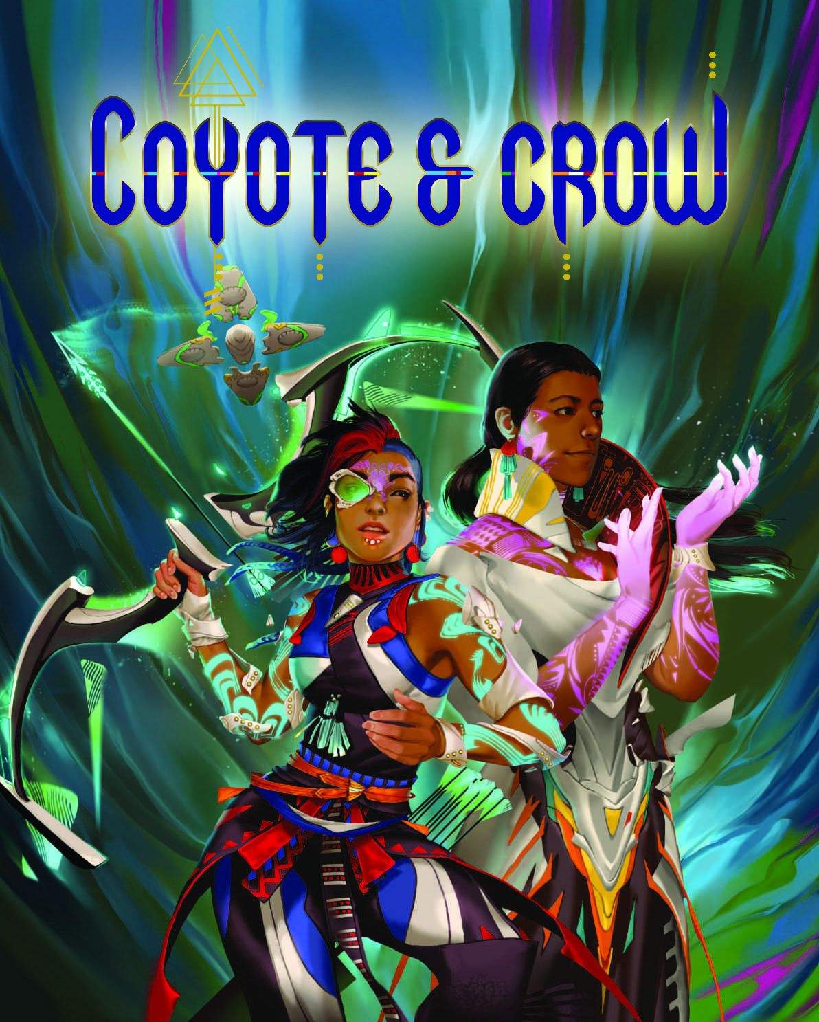 Cover art for Coyote & Crow showing descendents of pre-Columbian Native Americans dressed in colorful armor.