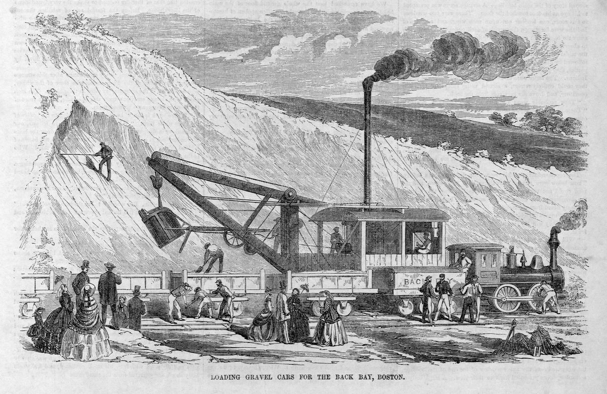 Old black-and-white print of a coal-powered plow moving gravel, with people around.