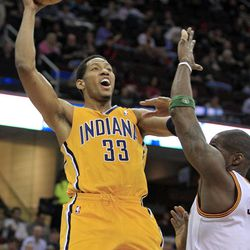 Indiana Pacers' Danny Granger (33) shoots over Cleveland Cavaliers' Antawn Jamison in the first quarter of an NBA basketball game Wednesday, April 11, 2012, in Cleveland.