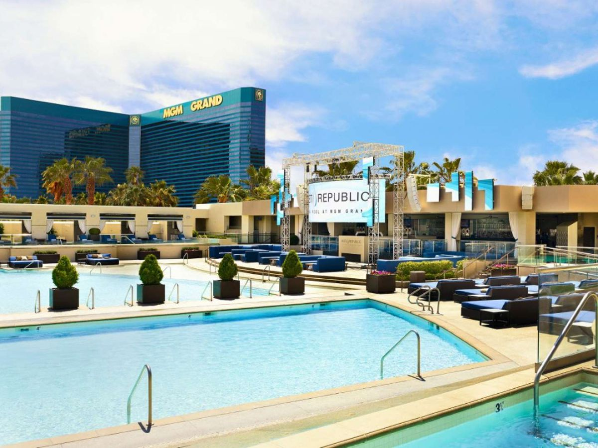 A pool setting at the MGM Grand