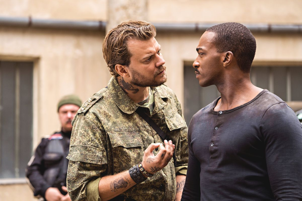 PilouAsbæk gets in the face of Anthony Mackie in Outside the Wire