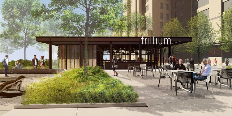 This rendering of Trillium Fenway shows a small, partially outdoor taproom on the lawn of 401 Park