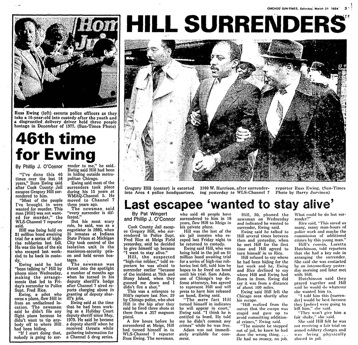 Yet another suspect surrenders to reporter Russ Ewing, the March 31, 1984, Sun-Times reported.