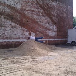 When there's sand, might as well jump around in it.