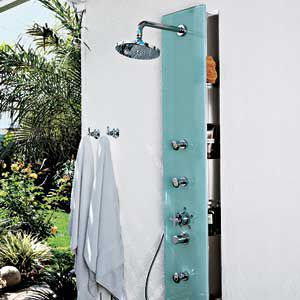 """<p><strong>Spa Treatment</strong><br> The built-in shower panel from Rohl can be used indoors or out. It has a glass face and stainless-steel shelves behind for shampoo and soap. An 8-inch rain-style head, hand shower, and three body sprays rinse every bit of you. (About $4,731, <a href=""""http://rohlhome.com/"""" target=""""_blank"""">ROHL</a>)</p>"""