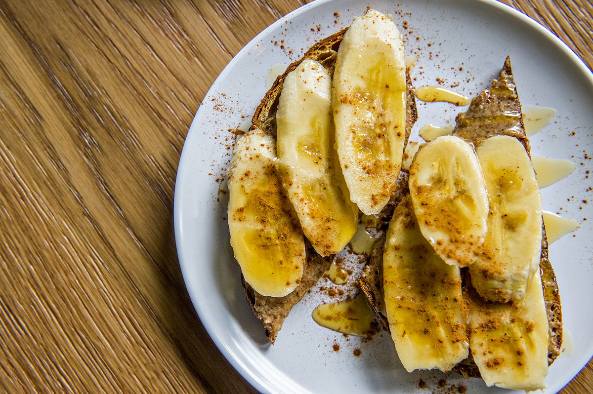 Wonder's The Champion with almond butter, banana, honey drizzle, and cinnamon.