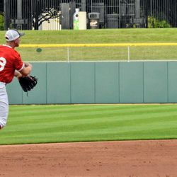 IU's Cole Barr starts off a 5-4-3 double play by making a throw on the run.